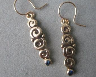 14Kt Gold Blue Sapphire Spiral Earrings #ER98YG