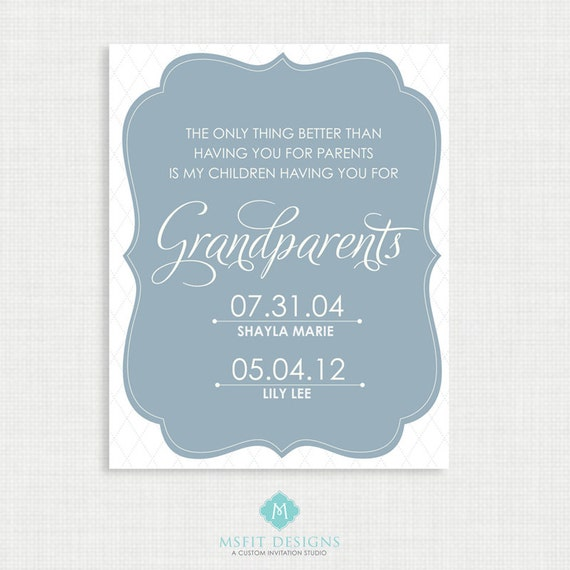 Grandparent Gift - Personalized Grandparent family poster - Important family date art print poster - Wall art