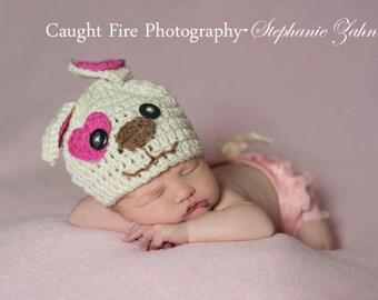 Puppy Love Hat~Newborn Crochet