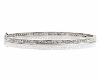 Vintage 7.05 Carat French Carre Cut Diamond and Platinum Bracelet, Large size