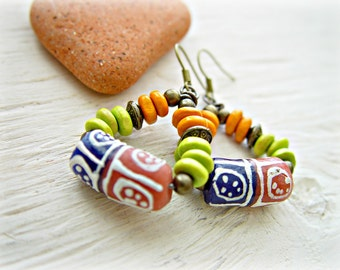African Earrings - African Jewelry - Hippie Earrings - Boho Earrings - Boho Jewelry - Tribal Earrings - Ethnic Earrings - Bohemian Jewelry