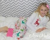 Glitter Reindeer Christmas Pajamas, Girls Christmas Pajamas, Christmas Pajamas for Children, Kids Christmas Pajamas, 2T,3T,4T,6,8,10,12