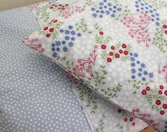 Cornflower blue floral duvet cover and pillowcase, bedding set, toddler bedding girl, nursery bedding, cotbed bedding, 100% cotton