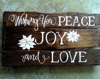 Peace JOY Love...custom hand-painted wall-mountable wooden SIGN