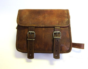 Handmade Leather Vintage Style Bag - Satchel Bag - Messenger - iPad Bag - Buckle