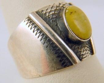 Vintage Serpentine Sterling Silver Ring Size 10