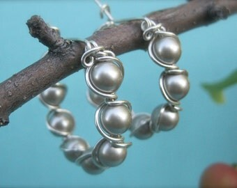 Platinum Swarovski Pearls and Sterling Silver Hoop Earrings