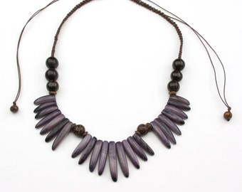 Adjustable Lilac Tagua Necklaces.