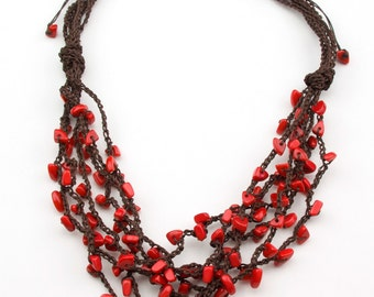 Knoted Crochet Adjustable Red Tagua Necklace