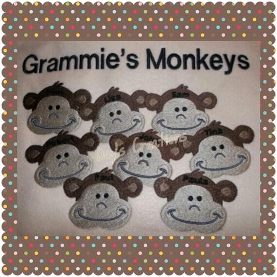 Grandpa's monkey sweatshirt-custom grandparents crew neck sweatshirt-personalized grandkids crew neck sweatshirt
