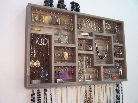 jewelry organizer wall hanging bathroom decor bedroom storage On bathroom jewelry holder