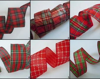 Christmas Plaid Wired Ribbon Country Plaid Wired Ribbon