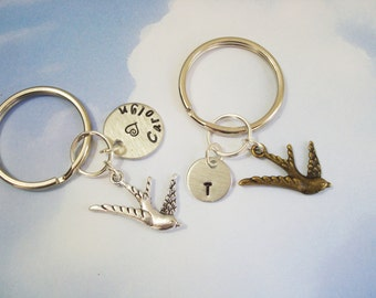 BIRD KEYCHAIN in bronze or silver - name and initial charms shown are optional (see price in drop down box) - 3D  bird  zipper pull