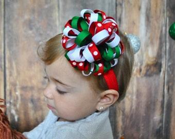 Christmas Headband, Loopy Puff Headband, Baby Headband, Flower Headband, Newborn Headband, Bow Headband, Infant Headband, Christmas Hair Bow
