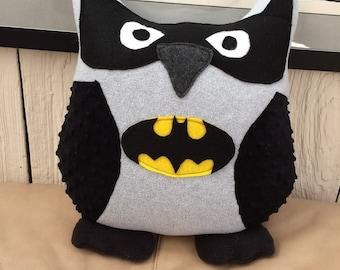 Batman Owl Pillow- Batman Plush- Inspired by Batman- Batman Owls