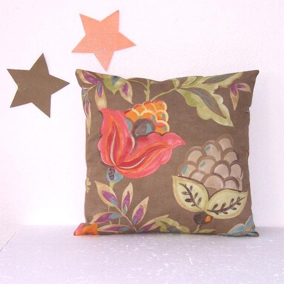 16 Taupe Floral Pillow Cover Waverly Decorative By PillowStars