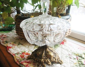 Crystal compote,Vintage,  cut and pressed glass with lid and ornate brass pedestal feet