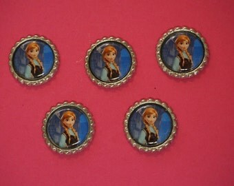 Disney Frozen Anna Finished Flattened Bottle Caps A2