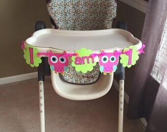 Owl theme first birthday, I am one highchair banner, I am one owl banner, look whoo's one, owl first birthday decorations