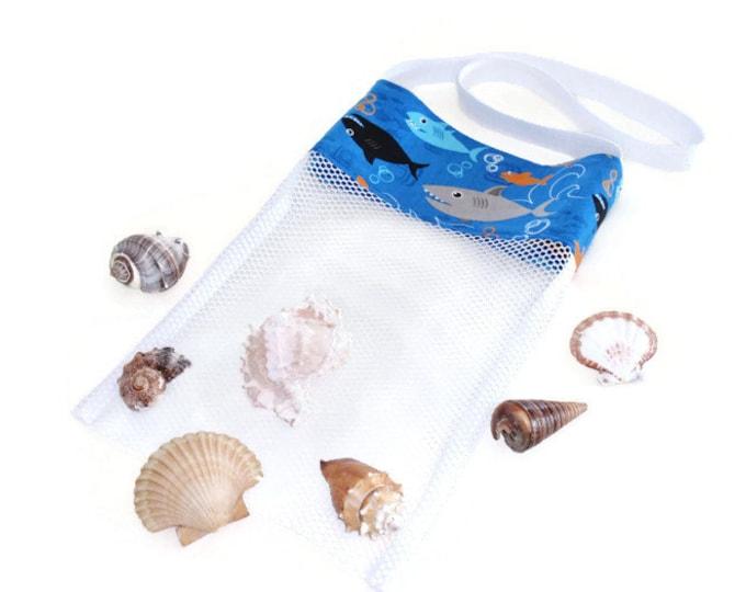 Mesh Shark Bag, Beach or Pool Toy Bag, Shell Tote Collecting Bag, Shark Birthday Party Favor Bag, Kids Shoulder Bag, Gift For Boys or Girls