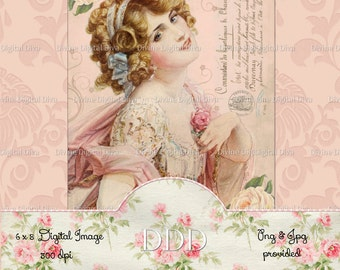Vintage Victorian Lady Pink & Peach with Roses Digital Image Collage Sheet Instant Download