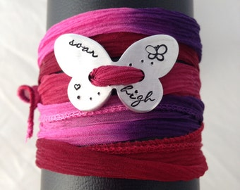 Hand stamped butterfly silk wrap bracelet, personalised, yoga wrap, soar, your name, colour options