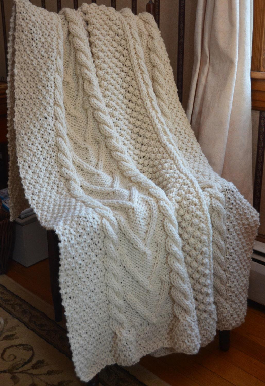 Irish Fisherman-Inspired Hand Knit Throw Blanket SULLIVAN