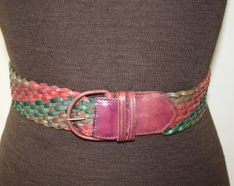 Vintage Leather multi-coloured braided Belt