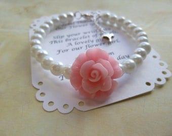 Flower Girl Bracelet, Pearl Flower Girl Bracelet,  Pearl Childrens Bracelet, Pearl Childs Bracelet, Flower Girl Jewelry, Flower Girl Gift