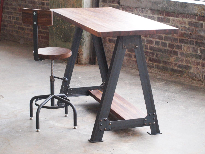 walnut stand up sit down work station desk by camposironworks. Black Bedroom Furniture Sets. Home Design Ideas