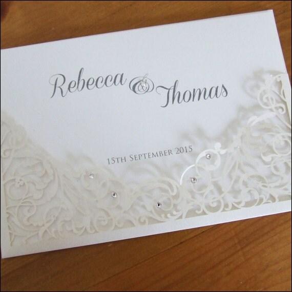 filigree laser cut wallet wedding invitation with crystals With laser cut wallet wedding invitations