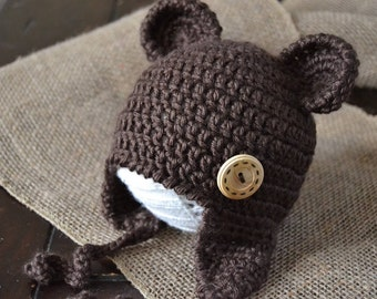 Baby Bear Hat with Earflaps and Wooden Button