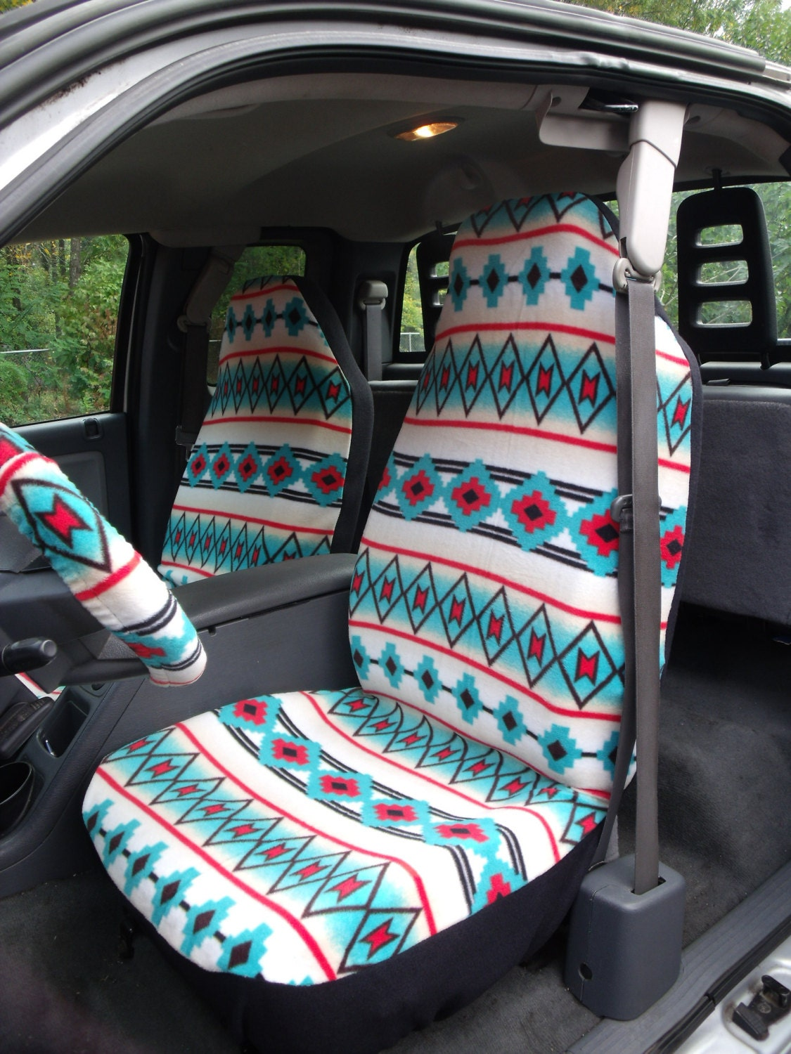 1 set of southwest tribal print seat covers and steering. Black Bedroom Furniture Sets. Home Design Ideas
