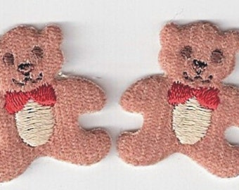 """Tiny Puffy Teddy Bears Appliques (lot of 8 pcs) 1.5"""" x 1.75"""" BROWN"""