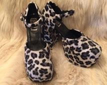 TOO SEXY Fun Fur Cow Print 90s Chunky shoe