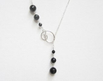 Lariat Necklace Black Onyx Jewelry Mothers Day Jewelry Black Onyx Necklace Knot Necklace Hammered Sterling Silver Necklace Christmas Gift