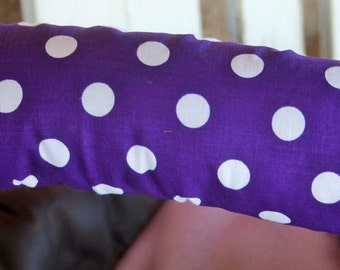 purple and white polka dot with gray minky infant car seat handle cushion