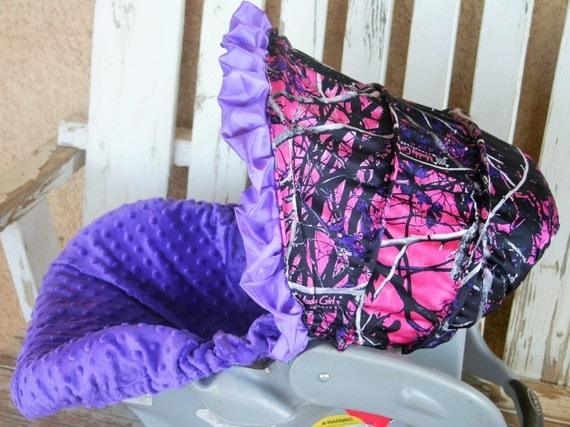 Pink And Purple Muddy Girl Camo Infant Car Seat Hood Cover W