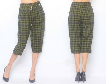 Wool Checked Pattern Emblem Knee-length Pants