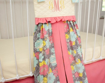 Aphrodite's Garden Aqua, Coral, Gray, and Yellow Large Diaper Stacker with Monogram (Optional)