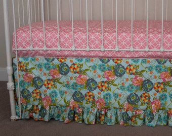 LillyBelle Garden Rocket Turquoise - Turquoise / Aqua, Coral, Gray, and Yellow  Crib Skirt and / or Fitted Sheet