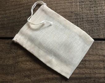 Organic Cotton Tea Bag - Reusable - Muslin Tea Bags - Tea Infuser - Organic - Drawstring - Reuse
