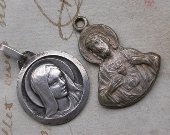 French antique large medal virgin mary sterling silver sacred heart reliquary virgin mary heavy bronze