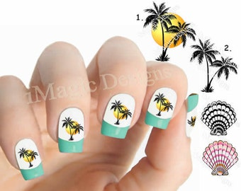 Waterslide Nail Decals, Tropical Nail Stickers, Palm Trees or Shell