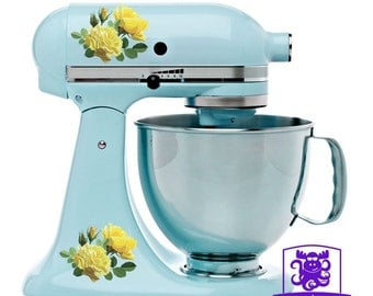 Yellow Roses Kitchen Stand Mixer Wrap Front & Back Decal Set Full Color