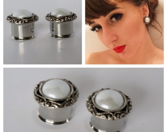 "Pearl Plugs 1/2"" 9/16"" 14mm 5/8"" 16mm 3/4"" 20mm Wedding Gauges"