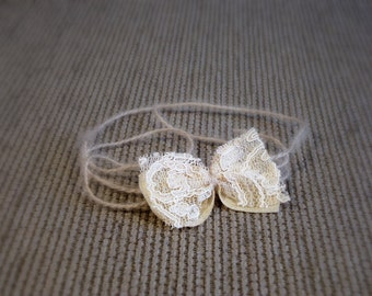 Lace bow Baby halo headband Newborn tieback headband Bow Photo prop headband Baby tie back Lace bow Newborn halo Baby girl Photography prop