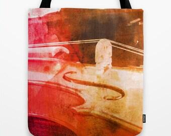 Violin Tote Bag, Music Bag, WaterColor Tote, Pink and Brown Tote, Violin Book Bag, Sheet Music Tote, Musician Gift, Music Teacher Gift, bag