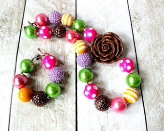 chunky bead necklace set with matching bracelet girls pink green yellow brown bubblegum bead necklace with flower birthday necklace set girl