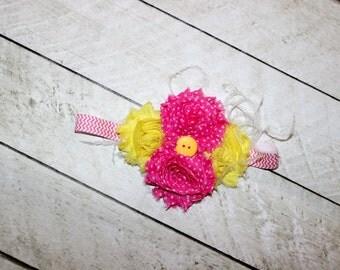 pink lemonade headband yellow hot pink birthday polka dot rose headband pink yellow polkast girls shabby rose headband birthday photo prop